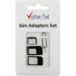 ADAPTORS SET 4 IN 1 - 3 SIM ADAPTORS + SIM TRAY TOOL VOLTE-TEL