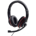 GEMBIRD JACK STEREO HEADSET BLACK WITH RED RING - (MHS-03-BKRD)