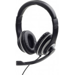 GEMBIRD JACK STEREO HEADSET BLACK WITH WHITE RING - (MHS-03-BKWT)