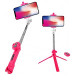 LAMTECH TRIPOD SELFIE STICK ROSE RED - (LAM020373)
