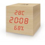 LIFE WES-105 CUBE WOODEN THERMOMETER/HYGROMETER WITH CLOCK AND ALARM NATURAL RED