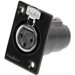 NEDIS XLR CHASSIS MOUNT XLR 3-PIN FEMALE BLACK - (COTP15911BK)