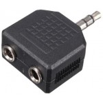 POWERTECH ADAPTER ST 3.5MM M/ 2F 3.5MM - NIKEL - (CAB-J015), 5ΤΕΜ