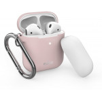 Puro Silicon Case for AirPods with additional cap with hook Ροζ - (APCASE1ROSE)