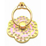 STAND & HOLDER RING GOLDEN FLOWER PINK STRASS OEM