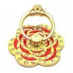 STAND & HOLDER RING GOLDEN FLOWER RED STRASS OEM