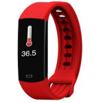 LAMTECH BODY TEMPERATURE DETECTION SMART WRISTBAND WITH HEART RATE MONITOR RED - (LAM021448)