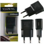 USB TRAVEL CHARGER MINI VOLTE-TEL VTU15 1500MA BLACK